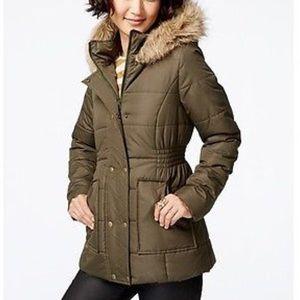 Brand New Coat With Fur Hood